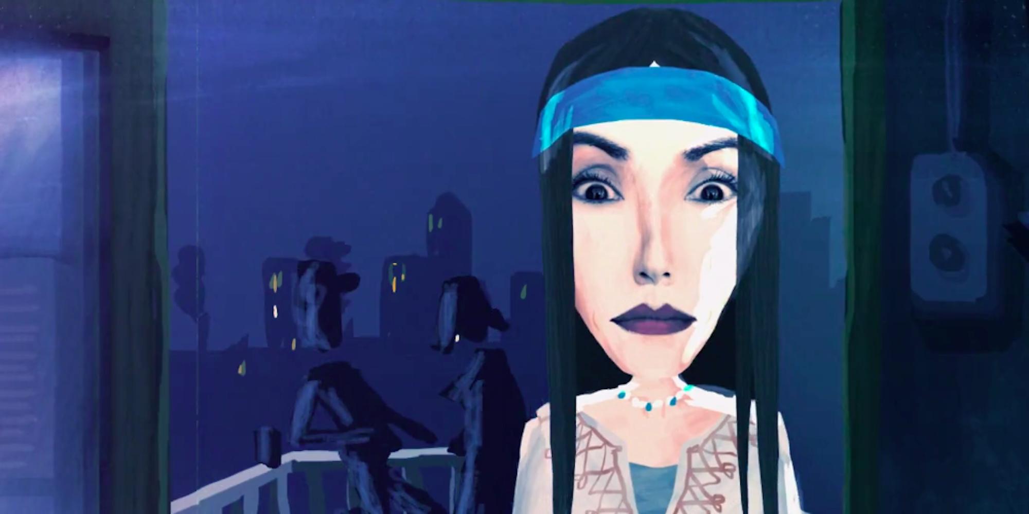 Animert bilde av kvinne med sort hår og blått pannebånd. Animasjon.