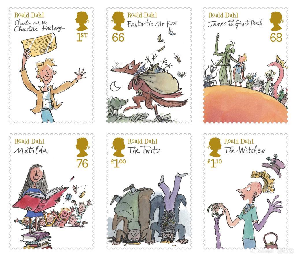 Stamps of Roald Dahl's children books