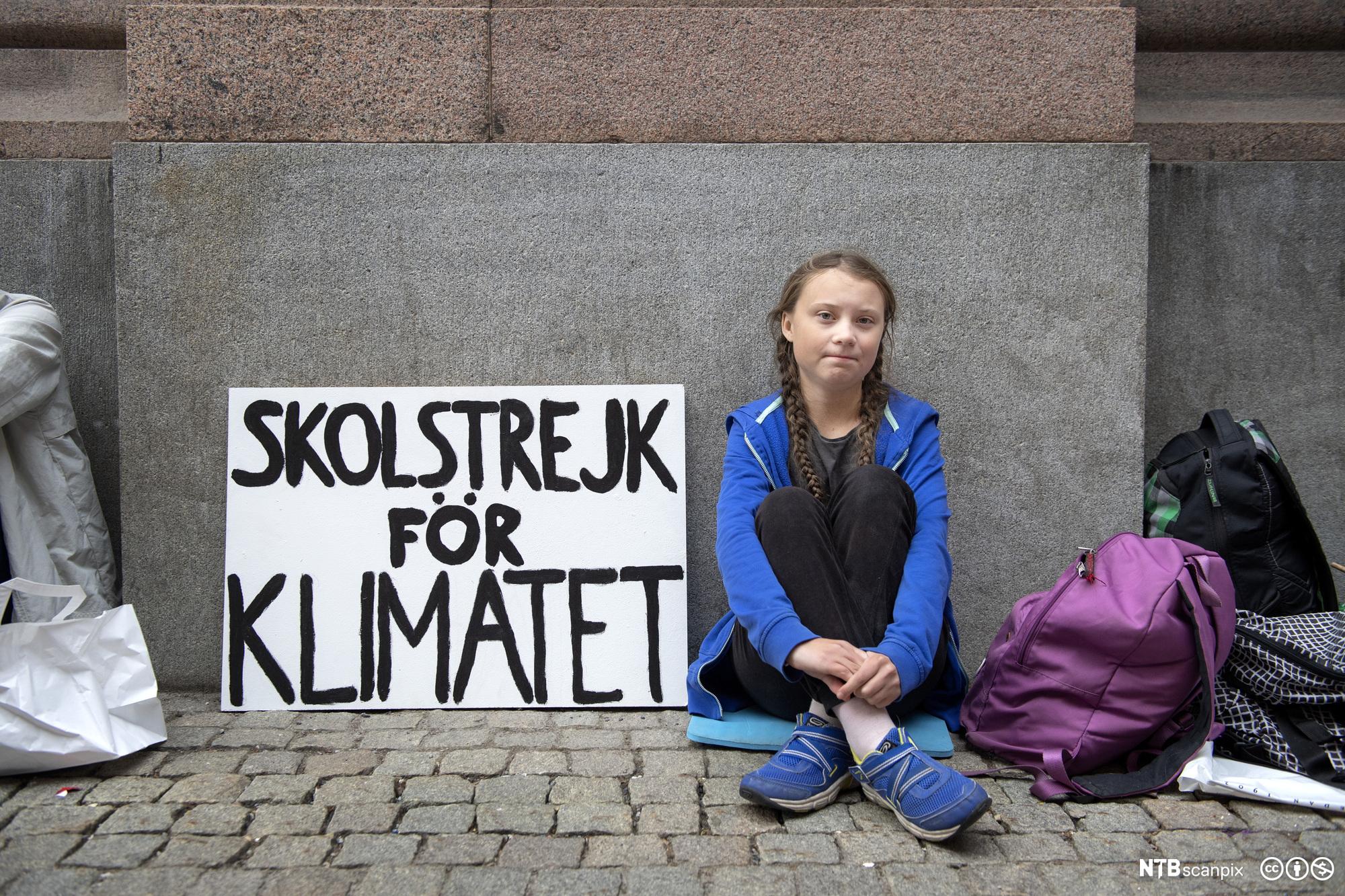 Greta Thunberg protesterer utenfor Sveriges Riksdag i august 2018. Foto.