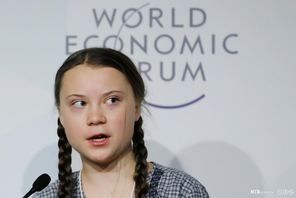 Nærbilde av Greta Thunberg under en paneldebatt på World Economic Forum i Davos i 2019.