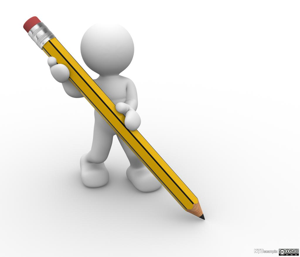 Strekmann som fører ein blyant over papiret. Illustrasjon.
