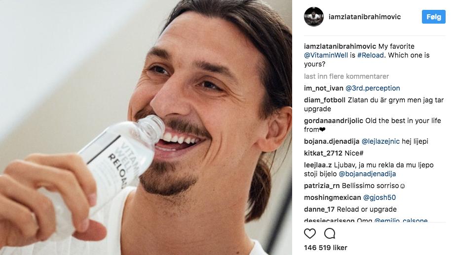 Zlatan reklamerer for VitaminWell drikk. Skjermdump