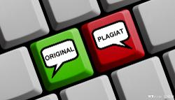 Tastatur med grønn tast der det står original og rød tast der det står plagiat. Foto.