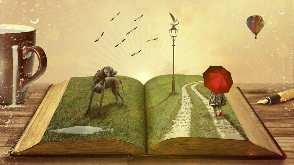 Sett gjennom vindusglass med regndråper på – åpen bok på et bord med tredimensjonale illustrasjoner av en park med lykt, hund, jente med rød paraply, fugler og en luftballong. Illustrasjon.