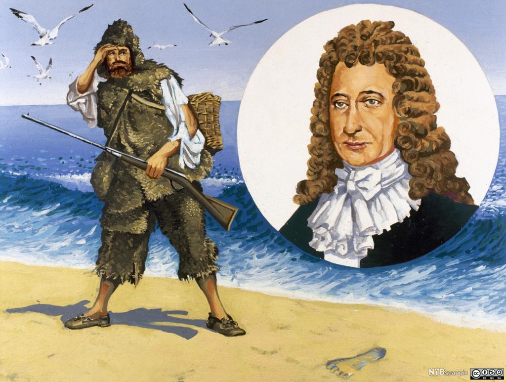 Tegning av Robinson som ser et fotavtrykk i sanden og et portrett av forfatteren. Illustrasjon.