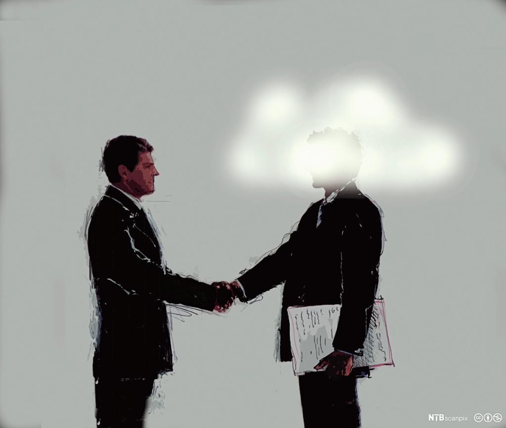 Forretningsmann håndhilser på en mann med hodet i tåka. Illustrasjon.