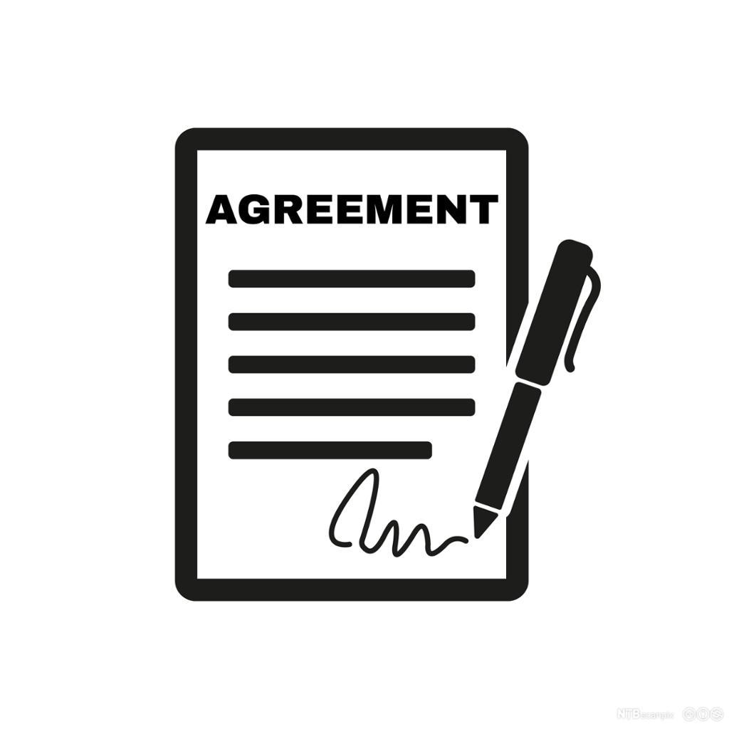 Kontrakt med signatur. Illustrasjon.