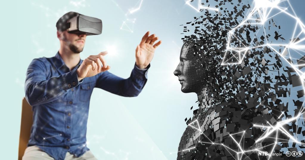 Mann med VR-briller og en statue i oppløsning. Foto. Illustrasjon.