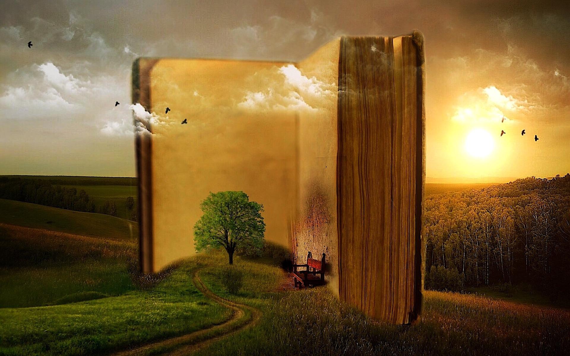 Fantasibilde der ei gigantisk stor bok står plassert midt i et naturlandskap. Dominerende farger er gult, grønt og grått. Inn mot de oppslåtte boksidene er det plassert et tre og en liten rød benk. Kollasj.