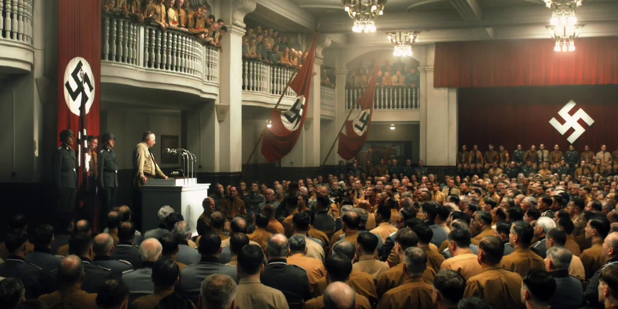 Nazistisk møte. Utsnitt fra filmen Elser – 13 minutter etter Hitler.