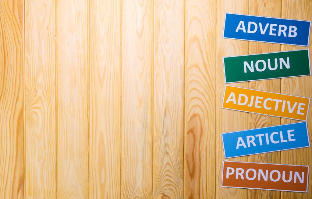 Words on a wall: adverb, noun, adjective, article, pronoun. Photo.