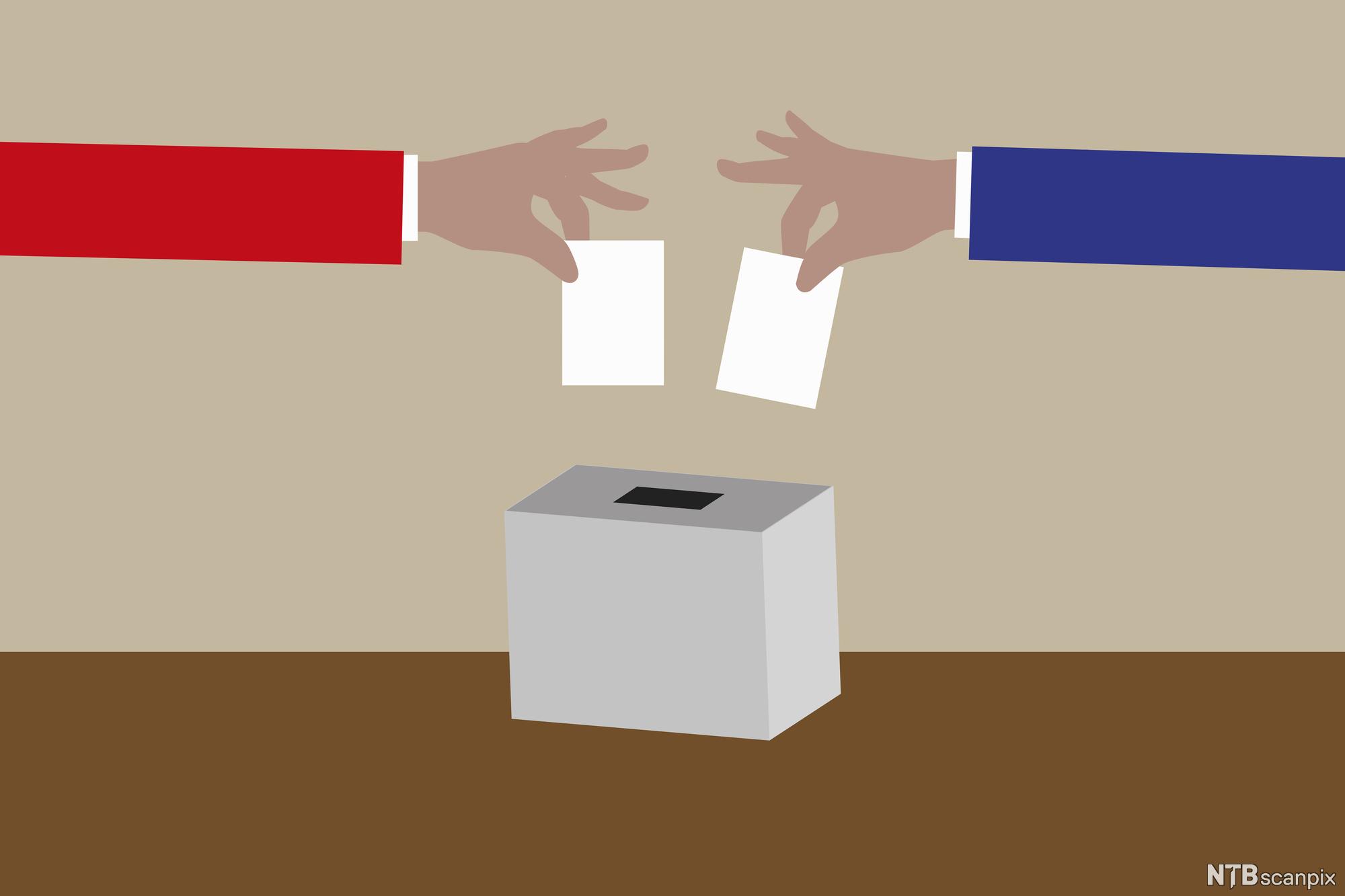 En blå og en rød arm putter stemmeseddel i valgurne. Illustrasjon.