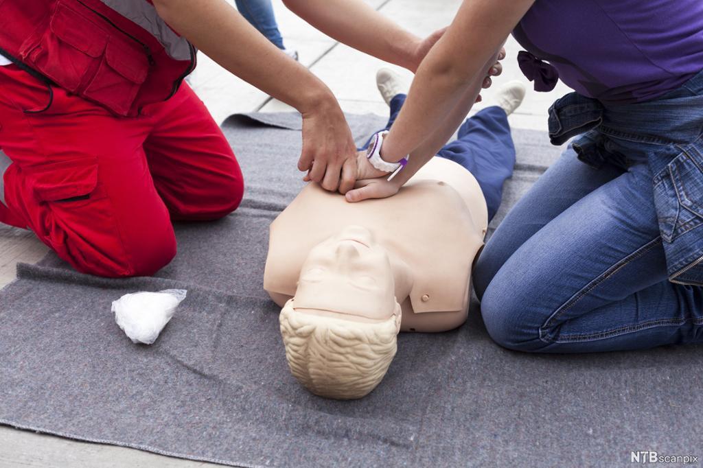 To personer trener på førstehjelpsdukke. Foto.