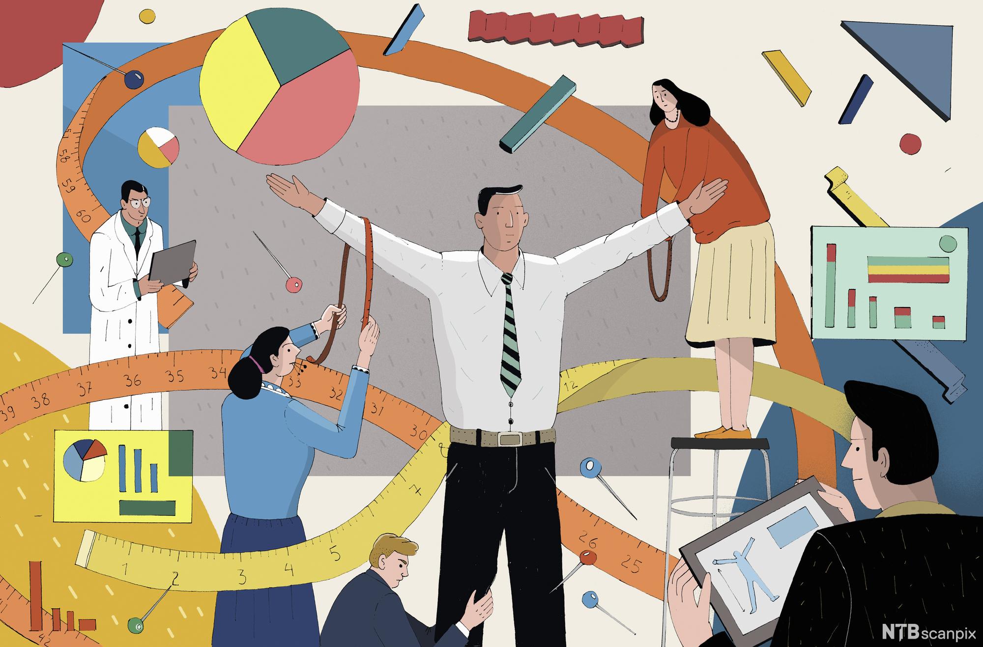 Mann blir målt og observert, omgitt av ulike diagrammer. Illustrasjon.