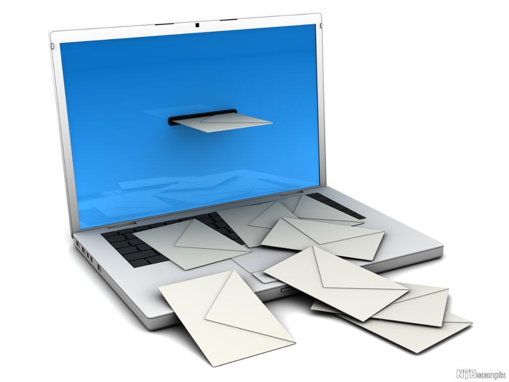 Konvolutter kommer ut av en laptop-pc. Illustrasjon.