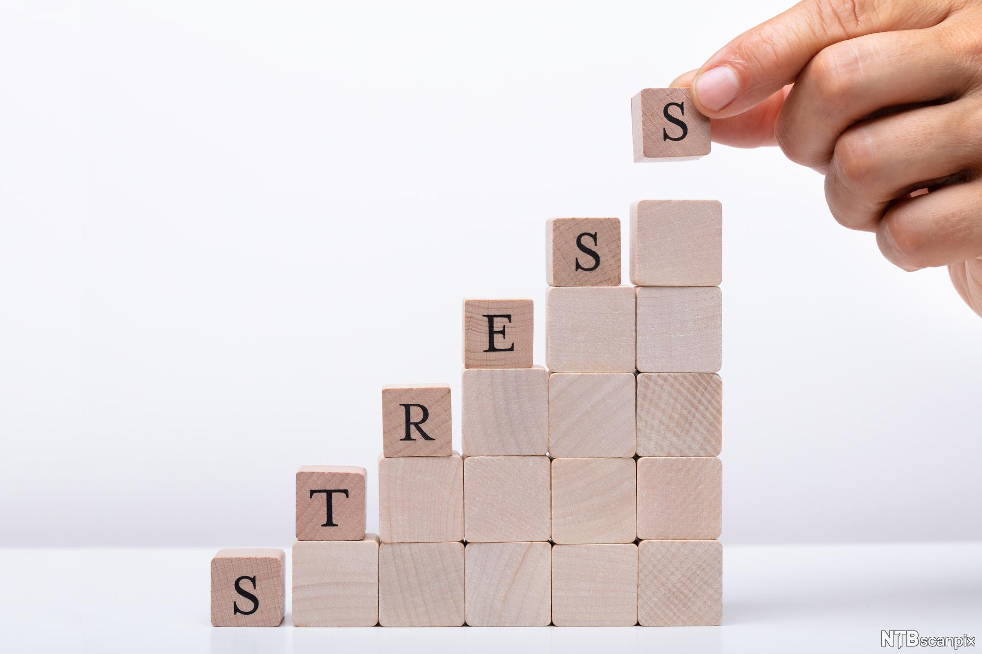 """Treklosser formet som en trapp påført ordet """"stress"""". Foto."""