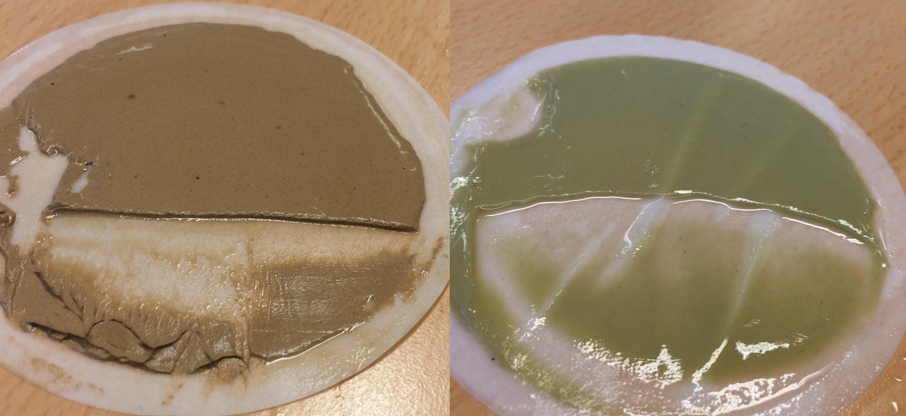 Bilde av to brukte filtre med små partikler som er fanget. Filteret er brukt til å teste filteregenskapene i en væske. Foto.