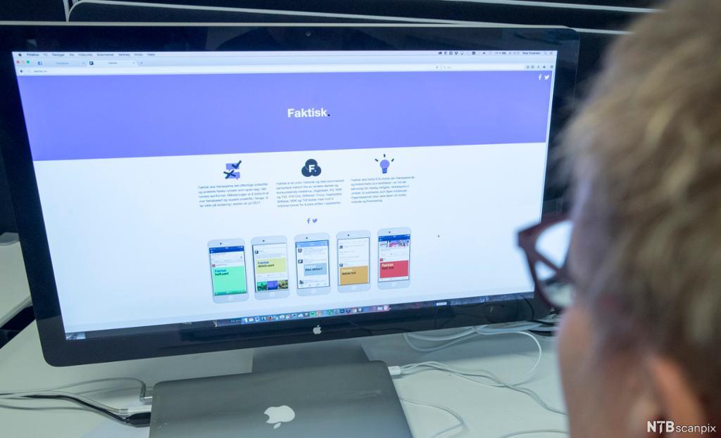 Person studerer nettsiden faktisk.no. Foto.