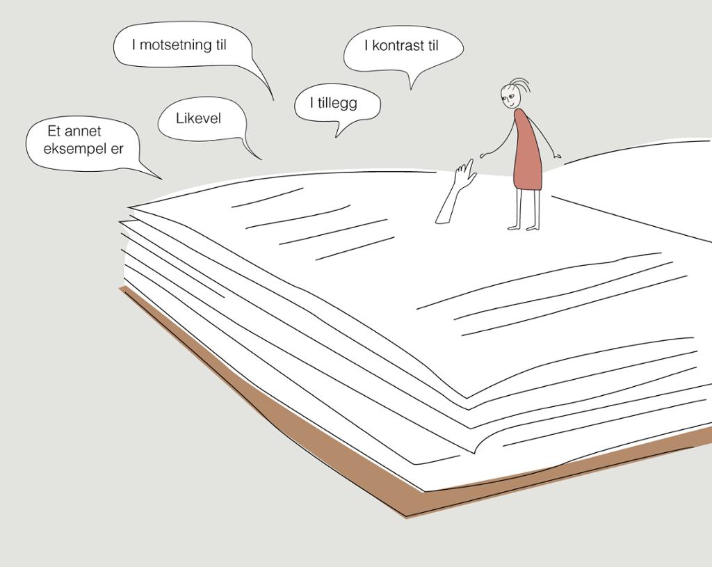 """Ei bok ligger. Opp fra denne stikker ei hånd som tar en figur i handa. I tillegg er det en rekke snakkebobler med setningskoplere som """"Et annet eksempel er"""" og """"I tillegg"""". Illustrasjon."""