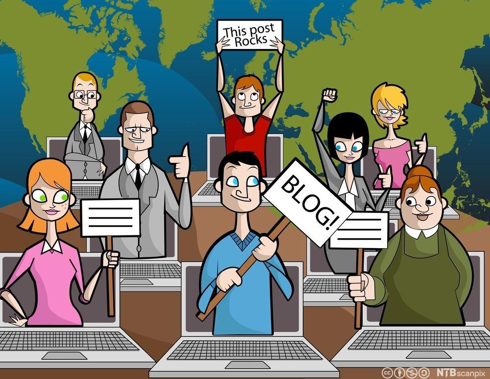 Flere bloggere. Illustrasjon.