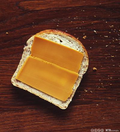 Brødskive med brunost. Foto.