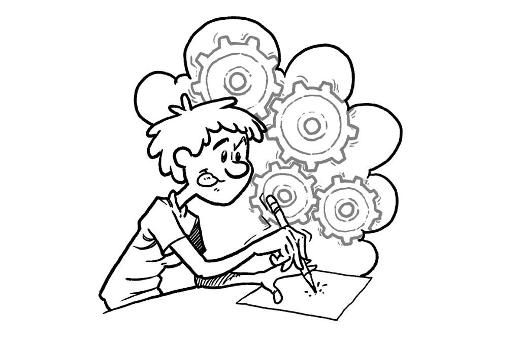 Gutt som skriver ned ideer. Illustrasjon.
