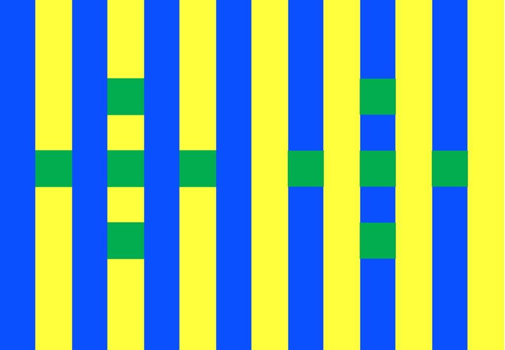 Blå og gule striper med grønne kvadrater. Tegning.