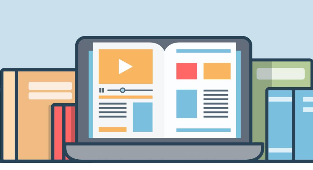 Nettsider som vider video, tekst og bilder. Grafisk.