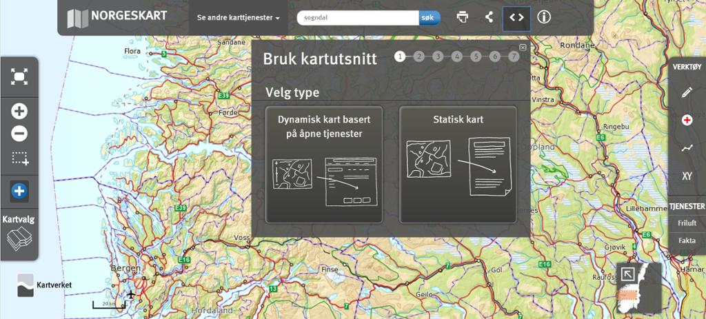 Kartutsnitt fra norgeskart.no. Skjermdump.