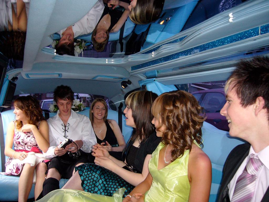 Inside prom limo. Photo.