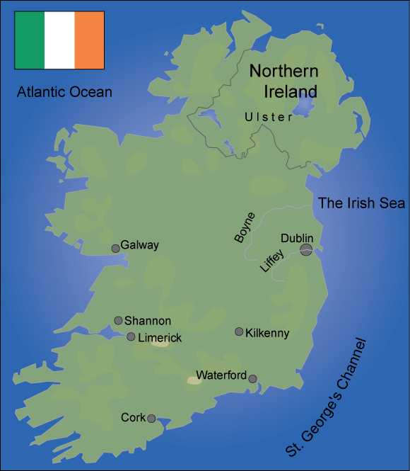 Map over Ireland. Illustration.