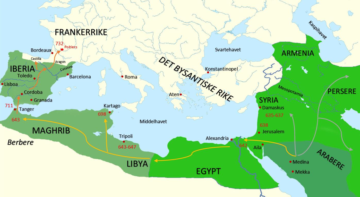 islam kart Historie Vg2 og Vg3   Islamsk ekspansjon i vest   NDLA