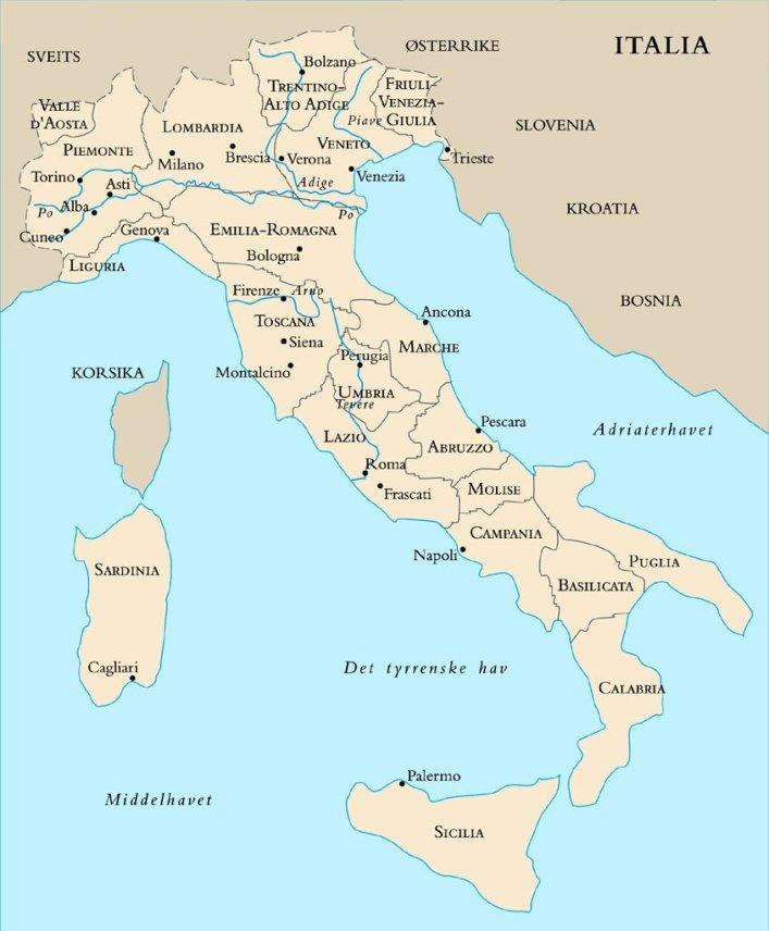 Kart over de ulike vinområdene i Italia. Foto.