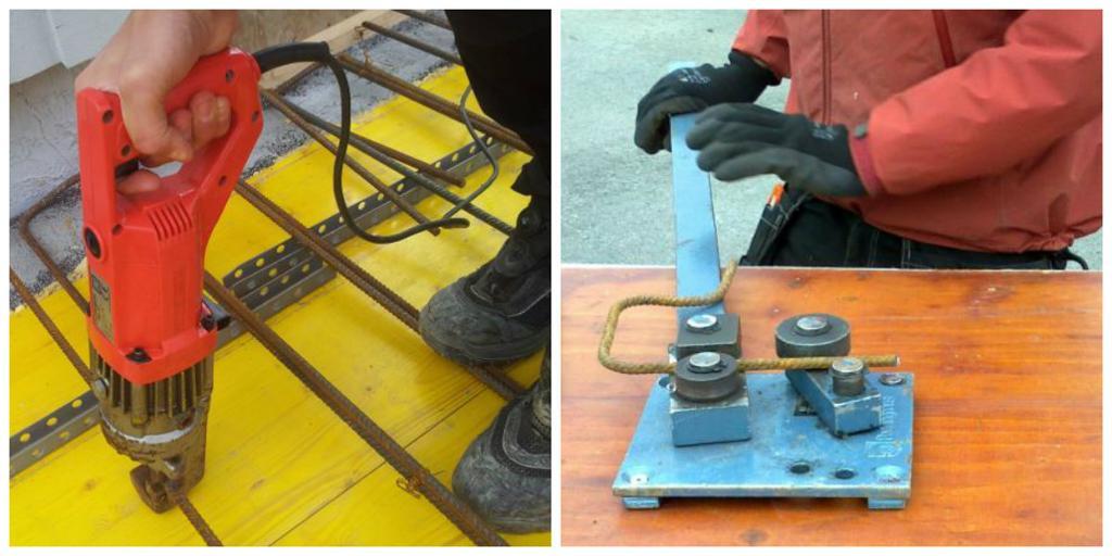 To maskiner til bruk i armeringsarbeid, jernkutte- og jernbøyemaskin . Foto.