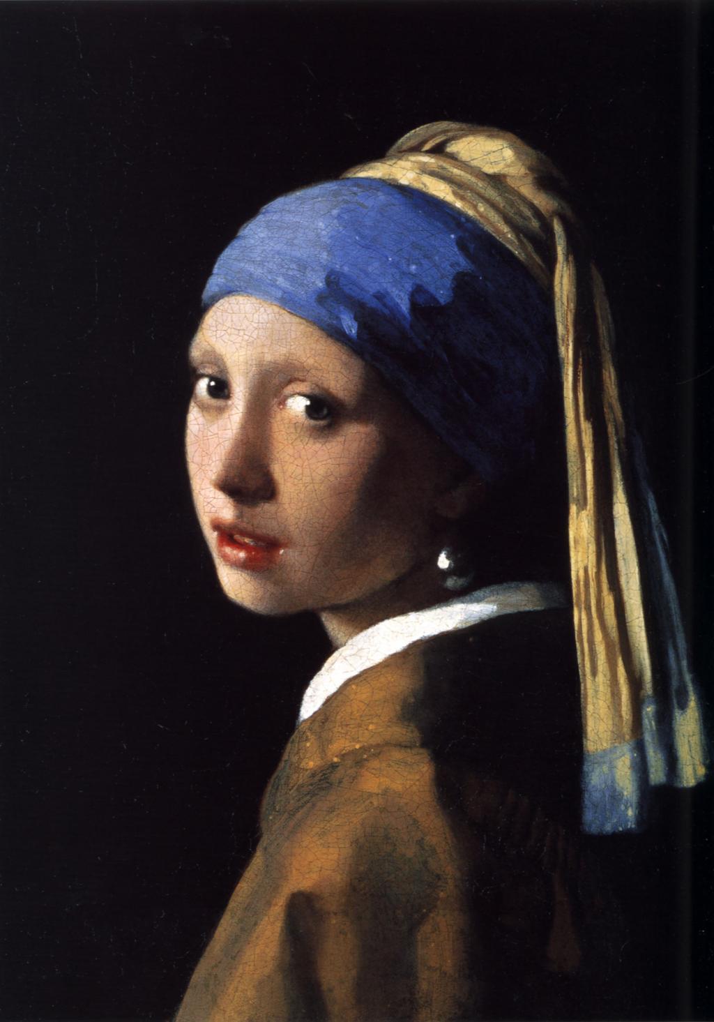 Portrett av ung jente med perleøredobber. Oljemaleri.