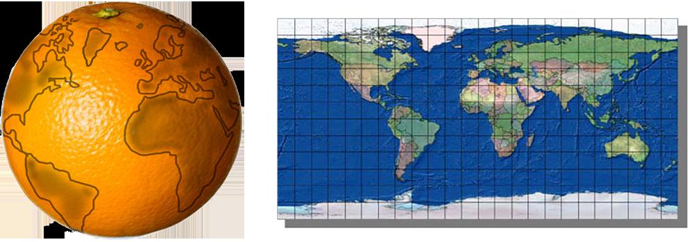 Jordklode og kart av jordkloden. Tegning.