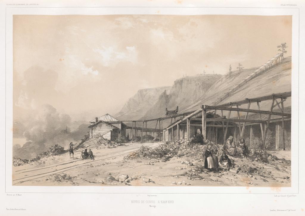Frat gruvedriften i Kaafjord med både mannlige og kvinnelige arbeidere. Illustrasjon.