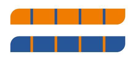 Figurer med blå og oransje felt. Illustrasjon.