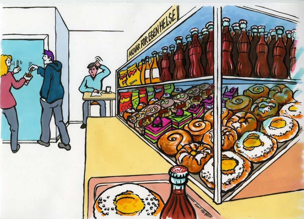 Matdisken i kantaina. Illustrasjon.
