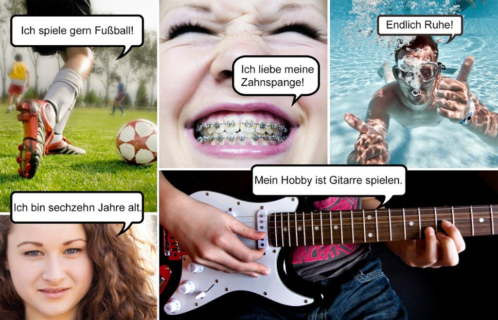 Fotografier som viser hobbyer som fotball, svømming og gitarspilling, og ungdommer som forteller om seg selv. Kollasj.