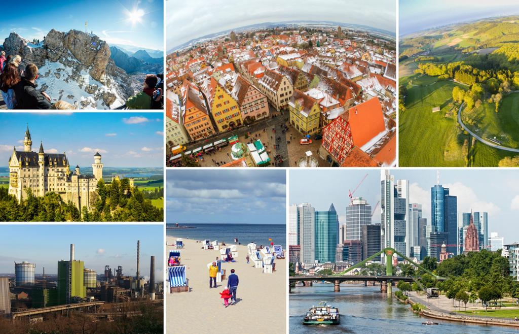 Geografi-kollasj med bilde av moderne storby, industriområde, middelalderby, slott, fjell, skogsområde, strand og hav i Tyskland. Fotografier.
