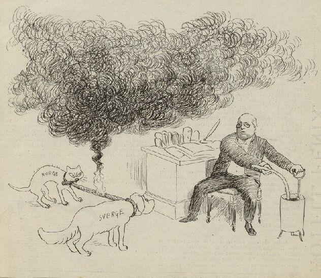 Karikatur som kommentar til konsulatkrisa i februar 1905. Tegning.