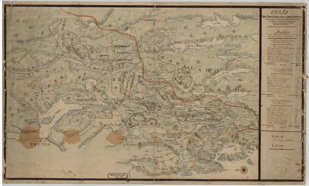 Historiske kart fra 1720. Faksimile.