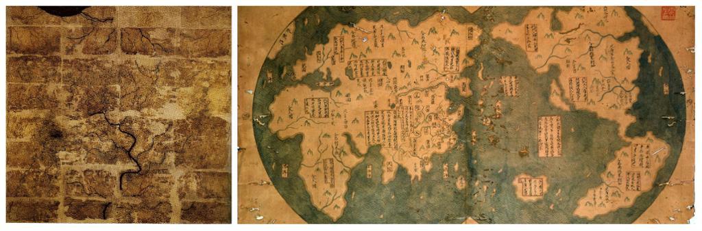 To gamle kart over Kina. Foto.