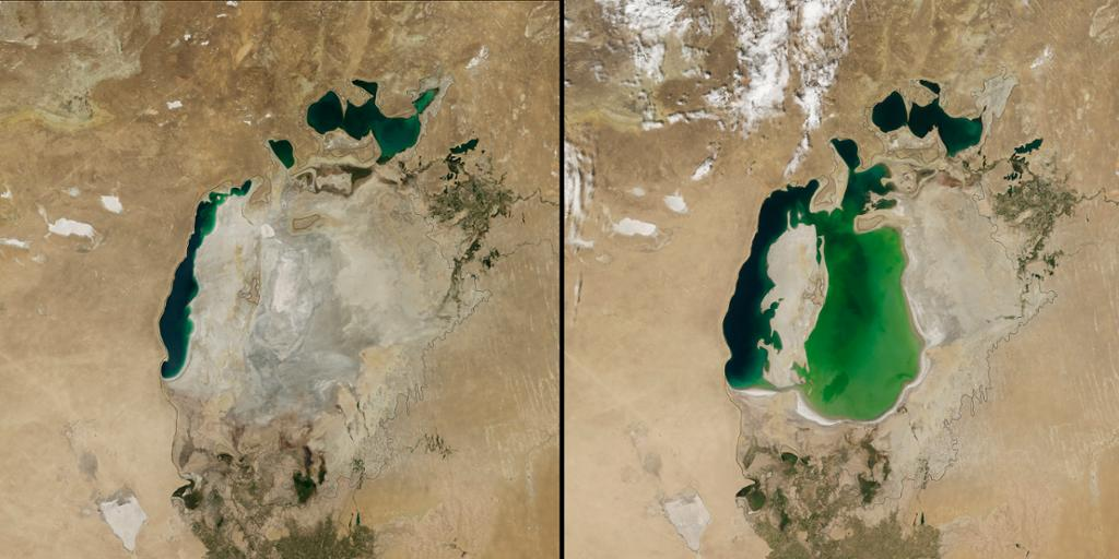 To sammenlignende satelittbilder av innsjø. Foto.