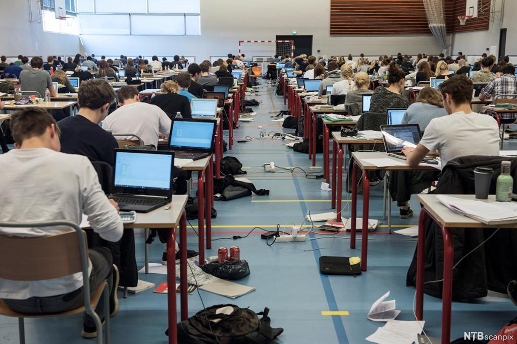 Elever jobber med skriftlig eksamen på PC i en svær sal. Foto.