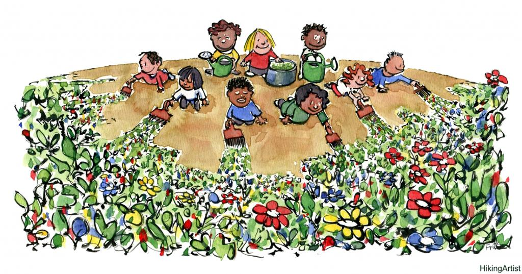 Barn maler jordoverflaten med maling med blomstermønster. Tegning.