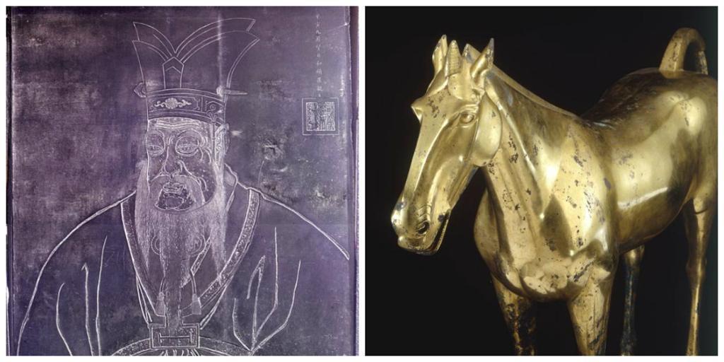 Konfutsius og en hest i bronsje. Kollage.