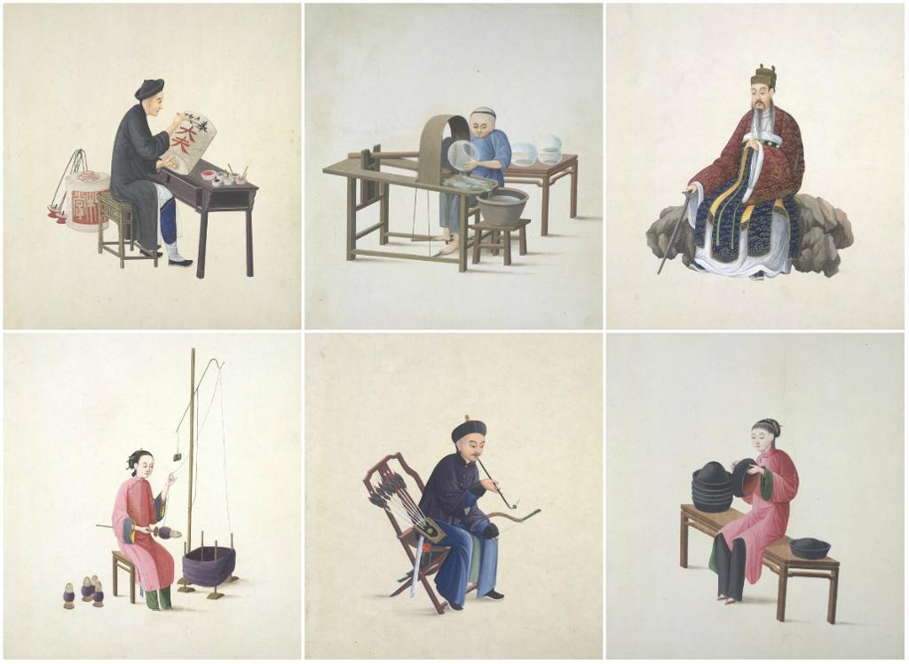 Seks ulike personer fra Kina på 1800-tallet. Kollasj. Maleri.