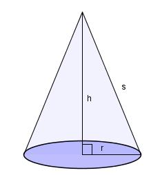 Kjegle som peker med den smale enden opp. Kjeglen har en sirkel som grunnform. Illustrasjon.